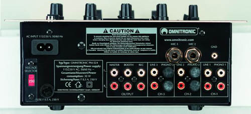 OMNITRONIC POISTUNUT.... TUOTE....PM-524 Pro DJ-Mixer, 3-channel (3x phono, 3x line, 3x mic), gain & tone-control (bass, middle, treble) for each channel