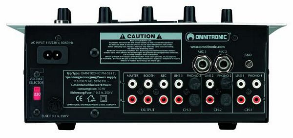 OMNITRONIC POISTUNUT..PM-524 Pro EL-Edition Mixer, 3-channel (3x phono, 3x line, 3x mic), gain & tone-control (bass, middle, treble) for each channel (tuote lopettu)