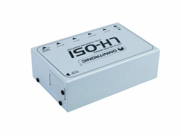 OMNITRONIC LH-051 Tupla Phantom virtalähde kondensaattori mikrofoneille. Dual phantom power adaptor 12/ tai 48V valittavissa. Mitat 143 x 93 x 45 mm sekä paino 485g.