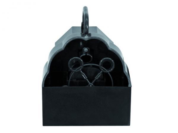 EUROLITE Mini saippuakuplakone, toimii verkkovirralla tai vaihtoehtoisesti paristoilla. Ideaali koti tai bilekäyttöön. Pakkaus sisältää virtalähteen. Mitat 160x 115 x 135 mm sekä paino 0,5kg. Ei sisällä nestettä!