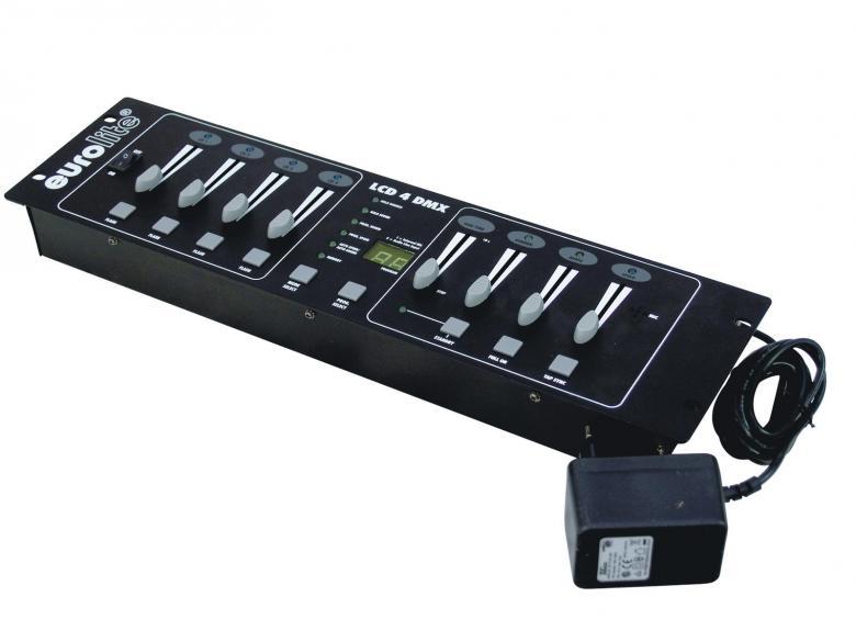 POISTO EUROLITE LCD-4 DMX himmennin ohjain, jota voidaan käyttää sekä analogi- ja dmx-ohjaimena. Ääniohjaus laitteeseen rakennetun mikrofonin tai sisään vietävän RCA signaalin kautta. Käyttö 0-10V analogi tai DMX. 48kpl sisäänrakennettua juoksutusta (ohjelmaa). Mitat 483 x 132 x 65 mm sekä paino 2,0kg.