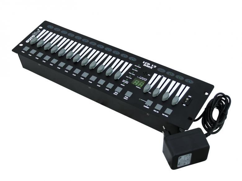 EUROLITE LCD-12 DMX Himmennin ohjain, jota voidaan käyttää sekä analogi- ja DMX-ohjaimena. Helppo käyttää himmennin liukuna. Mitat 483 x 132 x 65 mm  sekä paino 3,10kg.