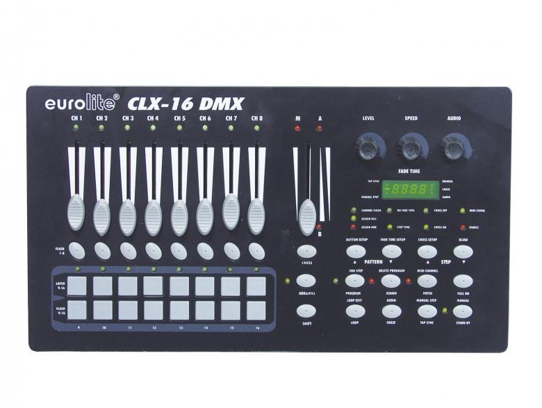 EUROLITE CLX-16 DMX 16-kanavainen valo-ohjain, jossa kahdeksan kanava liukua, jotka vaihdettavissa kanaville 9-16. Audio ohjaus, eli siäänrakennettu mikrofoni sekä audio signaalin sisäänvienti RCA pistokkeella. 30kpl vapaasti ohjelmoitavaa ohjelma paikkaa. jalkakytkimelle erillinen 9-pin sub D liitin.Mitat 320 x 180 x 80 mm sekä paino 2,0kg.