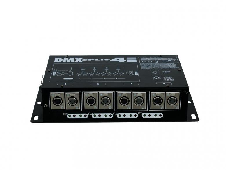 EUROLITE DMX-jakaja 4-ulostuloa DMX Split4, 4-fold DMX-splitter.DMX-jakaja yhdellä sisäänmenolla ja neljällä ulostulolla. Kaksi eri tyyppistä DMX-liitäntää (3 pin & 5 pin) jokaisella kanavalla.Kaikki DMX-ulostulot sisältää itsenäisen data ajurin & datailmaisimen. Mitat 325 x 190 x 80 mm sekä paino 3kg.