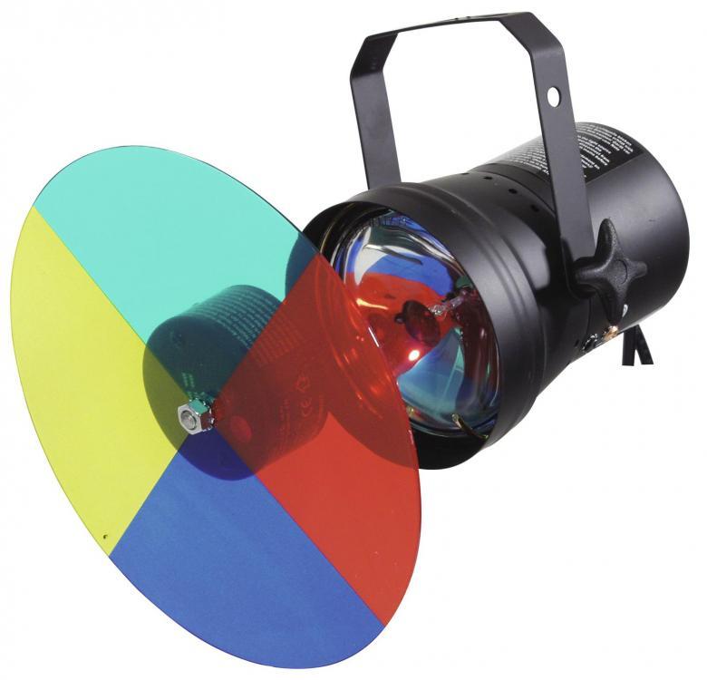 EUROLITE Par 36 värinvaihtajasetti peilipallolle: 1x par 36 heitin musta, 1 kpl värikiekko, 1kpl moottori, 1 kpl polttimo par 36 sekä shuko pistokkeet, valmis käyttöön! Kiekon halkaisija 23cm.