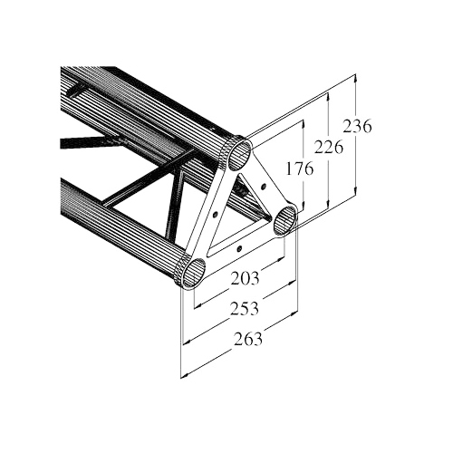 ALUTRUSS TRISYSTEM trussi PST-400 kolmiputkinen pituus 400mm ulkomitat 263 x 263 x 263mm, putken paksuus 50mm sekä paino 2kg. Straight 3-point truss 400mm