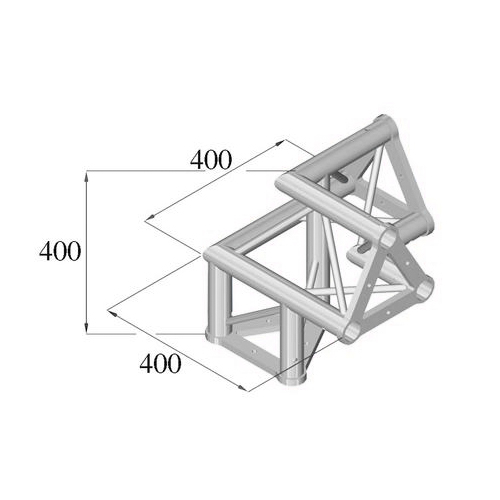 ALUTRUSS TRISYSTEM 3-tie kulmapala /\ vasen PAL-32. 3-way corner piece