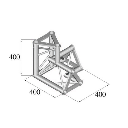 ALUTRUSS TRISYSTEM 3-tie kulmapala \/ oikea PAL-33. 3-way corner piece
