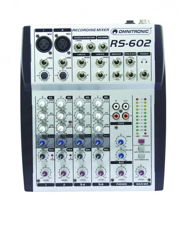 OMNITRONIC RS-602 Äänitysmikseri kotiin ja keikalle. Kuusi kanavaa, 2kpl mikrofoneja+ 2kpl stereo kanavia.