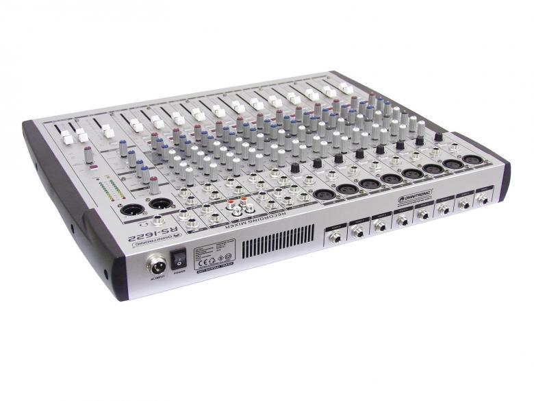 OMNITRONIC RS-1622 16-kanavainen äänitys mikseri, jossa kahdeksan mikrofoni kanavaa sekä insertit niille. Neljä stereokanavaa, Pahntom power, 2x ryhmää, aux. Laadukaat liukupotikat sekä laaja-alainen kanava kohtainen säätö. Laite on räkkikokoinen 480 x 400 x 55 mm sekä paino 7,0kg.
