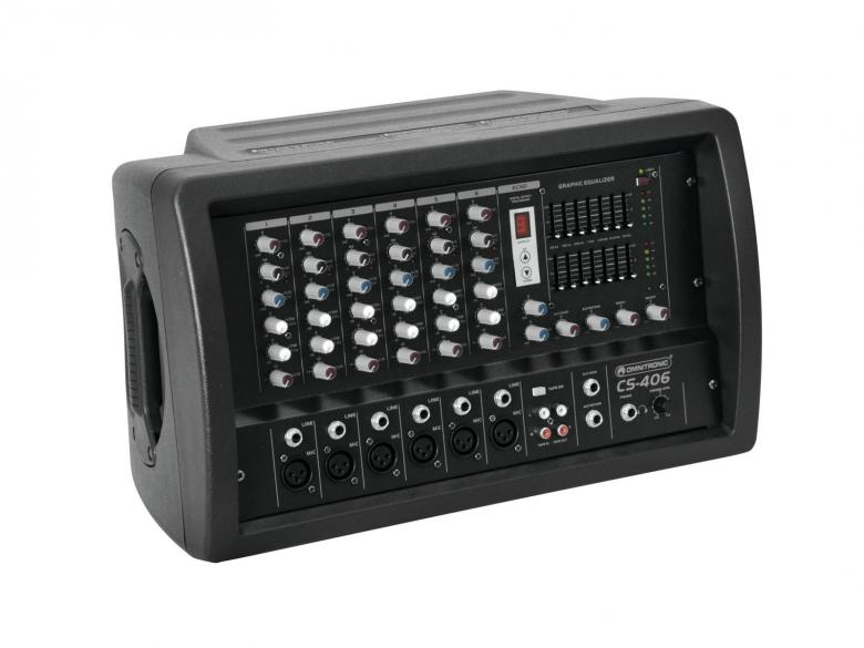 OMNITRONIC CS-406 2x 200W mikserivahvistin kombo 6-kanavaa,phantom power sekä aux, Powered Combo Mixer 2 x 200W/4 Ohms, 6 channel Mic/Line-mixer. Mitat 440 x 260 x 275 mm  sekä paino 11.5kg.