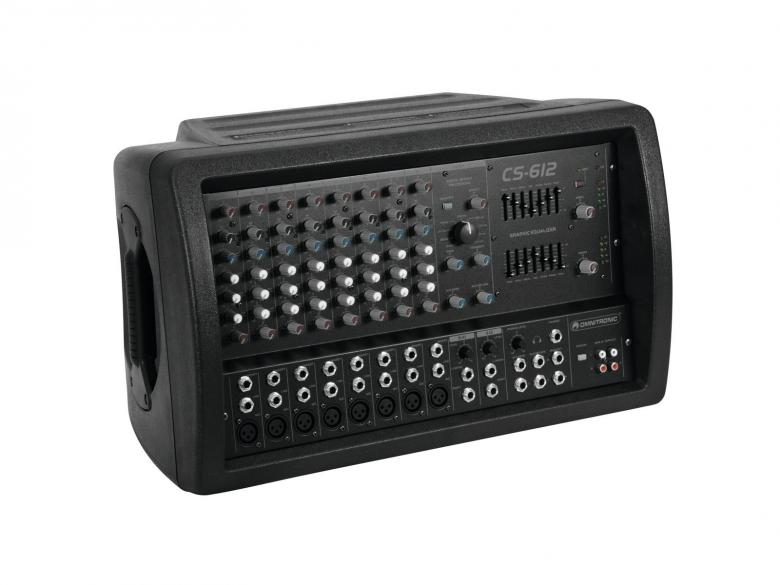 OMNITRONIC CS-612 Kombo mikserivahvistin, 8- kanavaa, 2x 300W vahvistin, phantom power sekä auxCombo powered mixer, 2 x 300W/4 Ohms, 8 channel Mic/Line-mixer, Mikseri Vahvistin Combo!!