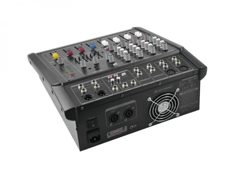 OMNITRONIC LS-622A 2x150W Combo Mikserivahvistin RMS 2x150W 4ohm. Laadukas, matalakohinainen mikserivahvistin liukusäätimillä. 2x Mic/2x stereo line XLR sisäänmenoja sekä Phantom 48V mikeille. 7-alueinen eq, aux sisään ja ulos, 16 kpl DSP multiefektejä. Kaiutin ulostulo speakon liittimin, Ulostulo Linja XLR balansoitu. insert tai direct out mono kanaville, erilliset main mix, group sekä kuuloke ulostulot. Mitat 330 x 390 x 125 mm sekä paino 9,5kg.