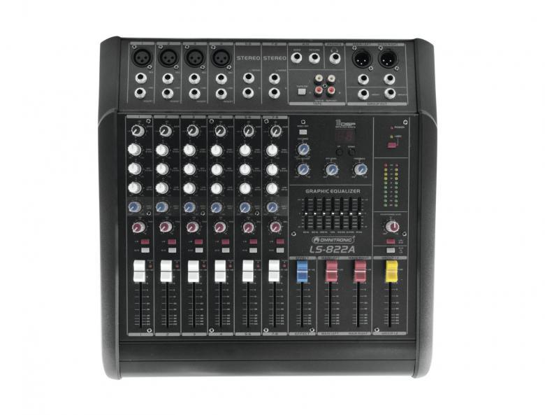 OMNITRONIC LS-822A Mikserivahvistin 2x200W 8-kanavaa efektilaite.  powered live mixer, 4x mono 2x stereo kanavaa, 1x aux stereo, phantom, 4x insert sekä direct out mono kanavilla, aux send sekä return, erilliset main mix, group sekä kuulokeulostulot. Efektilaite delay, peak led. Todella näppärä pikku keikoille. Kaiutinulostulot Neutrik speakon NL littiimillä. Mitat 390 x 390 x 150mm sekä paino 10kg.