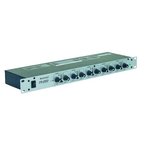 OMNITRONIC ZD-250 Zone distributor, Huom! Dj-mikseristä-> aluemikseri, 2 stereokanavaa sisään ja 5 stereokanavaa ulos eri alueille, mono sekä stereo mode valittavissa, xlr liittimin