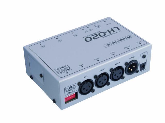 OMNITRONIC LH-020 Mikrofoni mikseri 3-kanavainen mini mikserikolmella mikrofoni sisäänmenolla. Erilliset voimakkuus säätimet, low cut toiminne sekä phantom power 48V. Sisään ja ulostulot balansoiduilla XLR liittimillä.  3channel mic/line-mixer. Mitat 143 x 93 x 45 mm sekä paino 555g.
