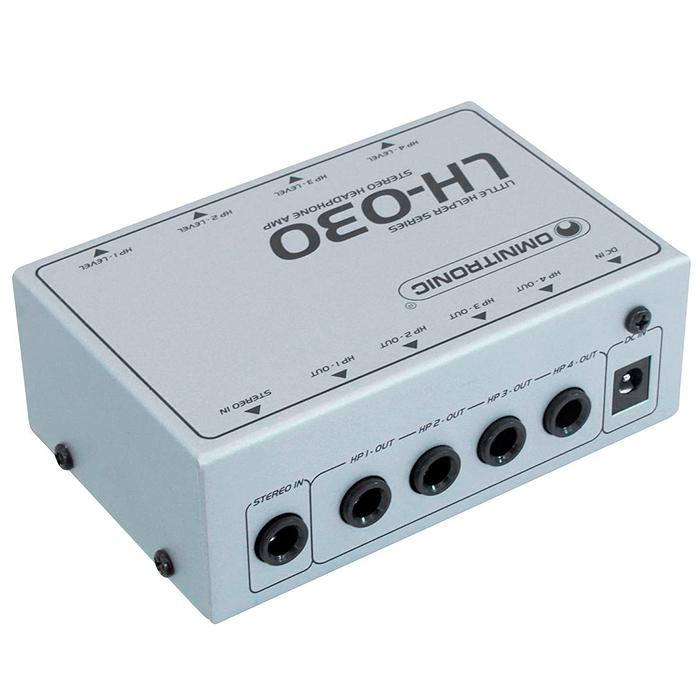 OMNITRONIC LH-030 Kuulokevahvistin-splitteri 4kpl kuulokkeelle. 4-channel headphone amplifier/distributor. Tämä aktiivinen kuulokevahvistin mahdollistaa yhden signaalin jakamisen neljälle kuulokkeelle. Mitat 113 x 73 x 40 mm sekä paino 340g.