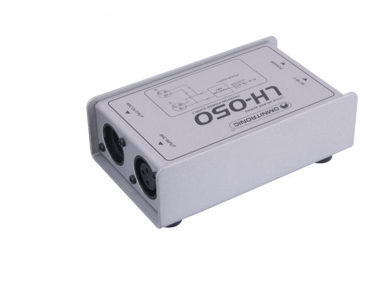 OMNITRONIC LH-050, phantom power adaptor. Tällä mini laitteella saat näppärästi Virran kondensattori mikkeihin. Mitat 74 x 45 x 130 mm  sekä paino 500g.