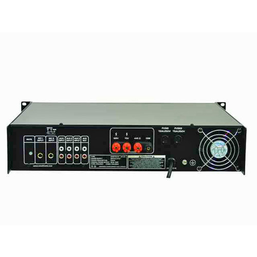 OMNITRONIC MP-120 120W 100 PA mikserivahvistin 3x mic ja 3x aux sisäänmenoilla. Varustettu Priority relay 1kpl MIC toiminteella. Mitat 483 x 400 x 88 mm sekä paino 9,5kg.