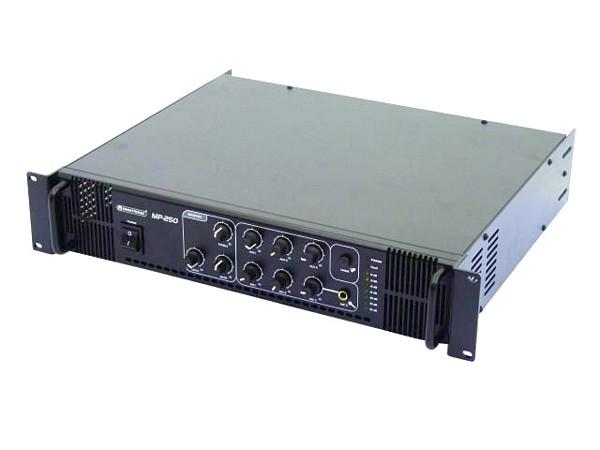 OMNITRONIC MP-250 100V Mikserivahvistin 250W RMS on laadukas Public Adress yleiskäytön 100V vahvistin. Varustettu  3x mikrofoni linjalla sekä  3x aux sisäänmenoilla, 1kpl erillinen linja ulostulo. Mitat 483 x 400 x 88 mm sekä paino 12kg.