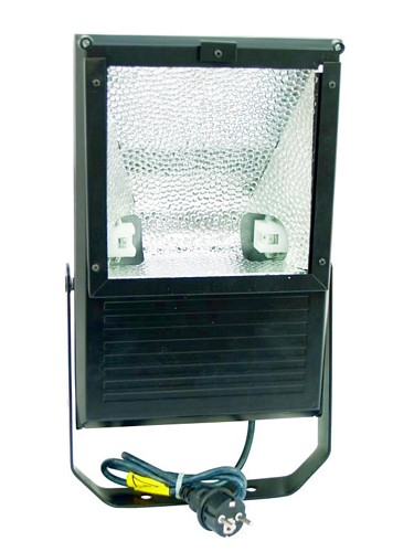 EUROLITE Ulkovalaisin 150W IP65, tehokaallle kaasupurkauslampulle. Outdoor Spot 150W WFL black IP65, For bright 150W discharge lamp