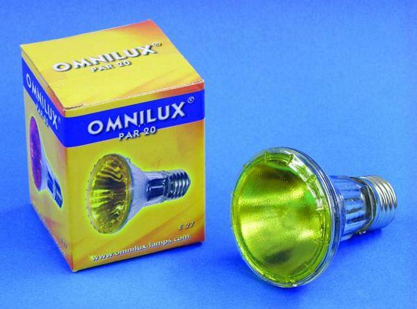 OMNILUX PAR-20 240V/75W E27 spot yellow, discoland.fi