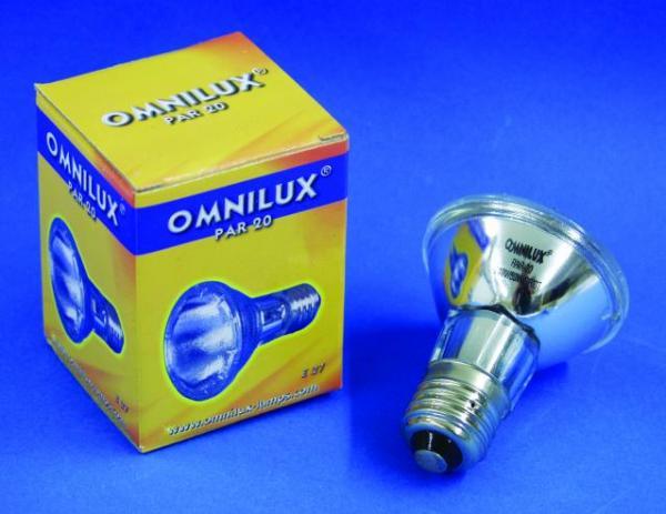 OMNILUX PAR-20 polttimo 50W spot 10° E-27 kannalla 2700k, 1500h, mitat 63 x 83.