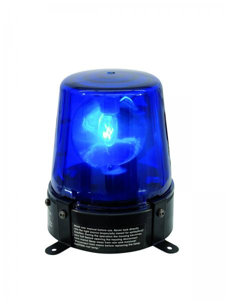 EUROLITE Poliisivalo Sininen DE-1 blue 230V/15W Tämä on perinteinen poliisivalo efekti, yksinkertaisesti kytke sähköön ja laite on käyttökunnossa. Teho 15W, lamppu valmiiksi asennettu. Virtajohdon pituus 1,8 metriä. Mitat 135x 110x 145mm paino 1 kg.