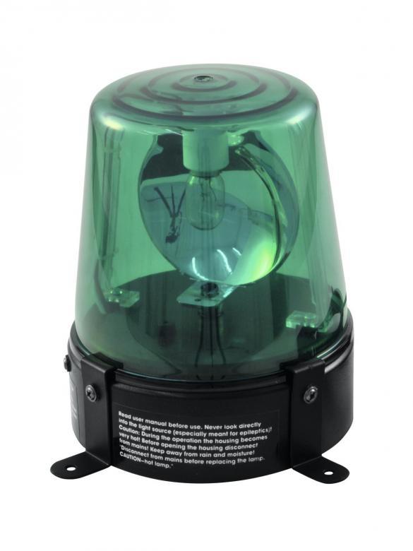 EUROLITE Poliisivalo Vihreä, Police-light DE-1, green, 230V/15W. Tämä on perinteinen poliisivalo efekti, yksinkertaisesti kytke sähköön ja laite on käyttökunnossa. Teho 15W, lamppu valmiiksi asennettu. Virtajohdon pituus 1,8 metriä. Mitat 135x 110x 145mm paino 0,63 kg.
