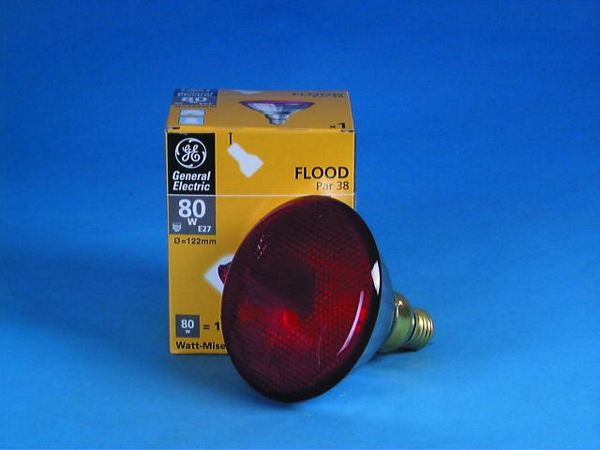 GE PAR-38 230V/80W E-27 FL red
