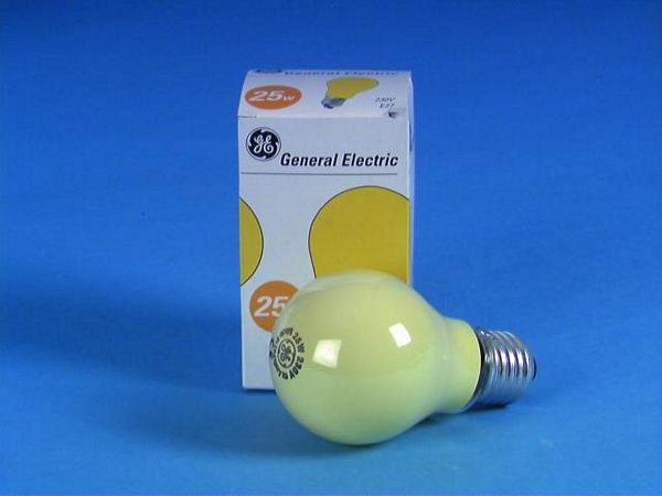GE A19 25W E27-polttimo, keltainen 230V/25W E-27 yellow frosted