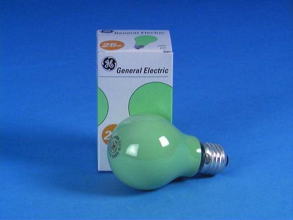 GE A19 25W E27-polttimo, vihreä. 230V/2, discoland.fi
