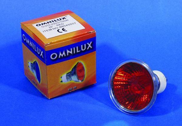 OMNILUX GU-10 230V/75W 1500h 25° red, discoland.fi