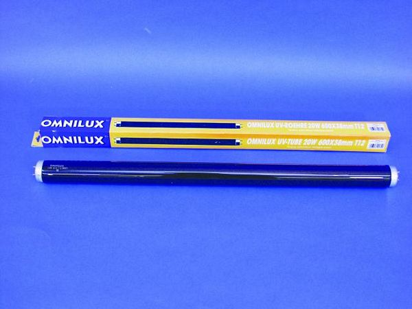 OMNILUX UV Putki 20W G13 600x38mm T12 Ultraviolet Mustavalo loistelamppu, black light, ultraviolet, UV valo, UV light.