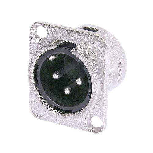NEUTRIK NC3MD-LX, 3-pole XLR male receptacle, solder contacts, Nickel housing, silver contacts