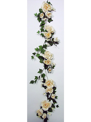 EUROPALMS 180cm Rose Garland creamwhite/golden