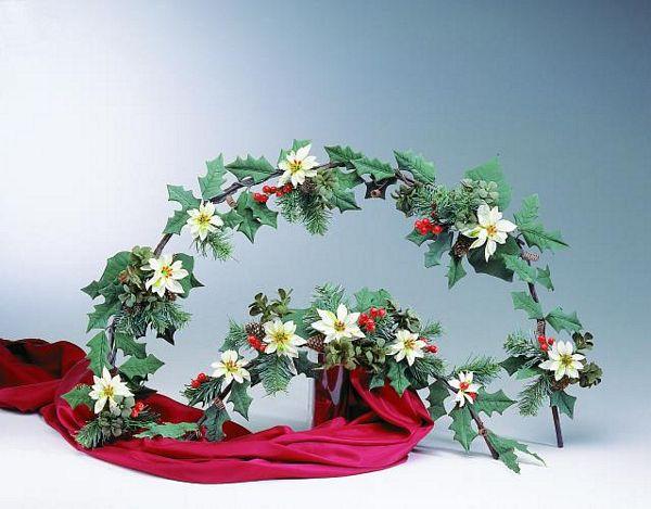 DECO 50cm Romantic X-mas-garland white, discoland.fi