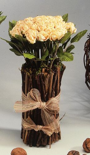 DECO 25cm Rose arrangment with wood, apricot