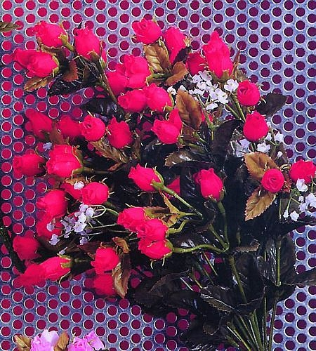 DECO Tuote lopetettu..Rose Bouquet red/white with everlasting poppy spray