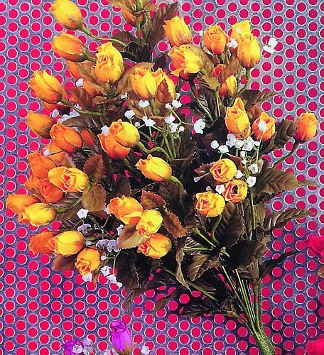 DECO tuote lopetettu..Rose Bouquet yellow/ white with everlasting poppy spray