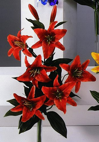 DECO POISTUNUT TUOTE..Tiger Lily bush with 6 flowers 3 buds flame orange