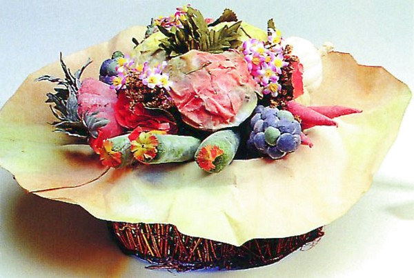 DECO Vegetable-mix in bast basket D=40/H=20cm