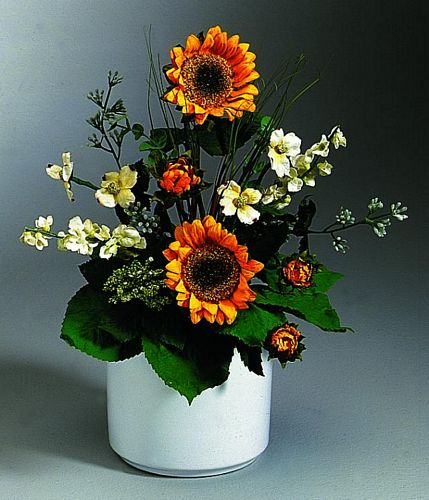 DECO POISTUNUT TUOTE Cubic sunflower bouquet orange Set