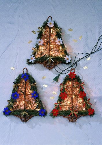 DECO 40x30cm Bell of Poinsettia white with light