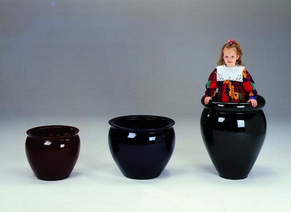 DECO Fiberglas pot black D=60/H=73cm
