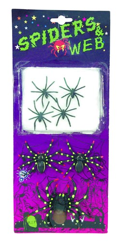 DECO POISTUNUT TUOTE.. Set Spiders (4x5cm, 2x7cm, 1x10cm) with net