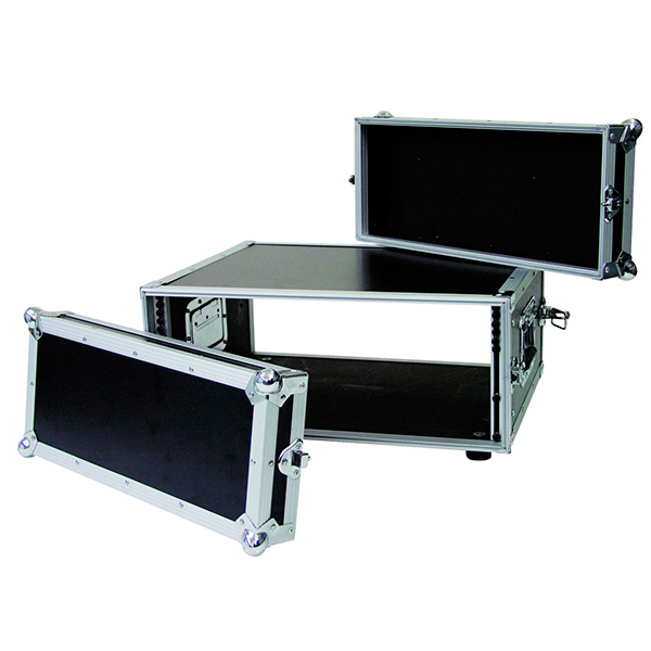 OMNITRONIC Efektiräkki. Effect rack CO DD, 4U, 38cm deep, black. Professional flight case for 483 mm units (19