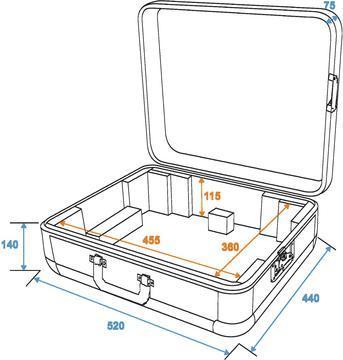 OMNITRONIC Kuljetuslaatikko levysoittimelle alumiini- musta pyöreäraunainen kaikille soittimille, jotka alle 450mm leveitä. Turntable case Tour ALU black! Professional flight case in aluminum housing for turntables