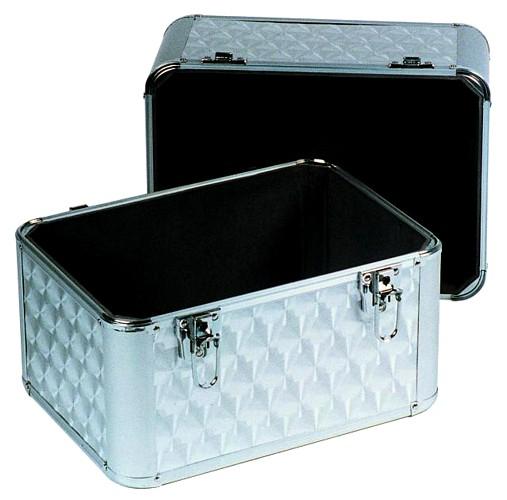 OMNITRONIC Kuljetuslaatikko vinyylilevyille. Record case ALU 50/50 polished 80 LPs. Record case in polished aluminum housing