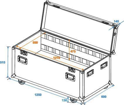 OMNITRONIC Yleismallinen kuljetuslaatikko 120cm pyörillä, ulkomitat 1250 x 600 x 780mm, paino 51kg